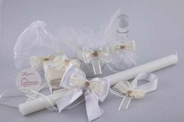 комплект за кръщене, кръщелна свещ, свещ за кръщене, кутийка за косичка, кръщене рустик стил