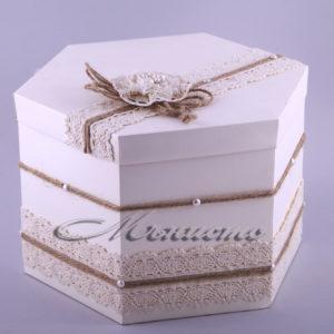 сватбен, комплект, дантела, рустик, кутия, пари