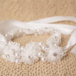 венче, бяло, екрю, кръщене, шаферки, перли