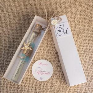 писмо в бутилка, сватбена покана, свитък, в стъклен цилиндър