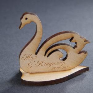 еко подарък, сватба, подаръци гости, лебеди, надпис, сватбени