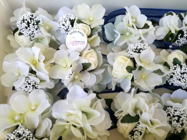 сватба, сватбена, бутониера, хортензия, роза