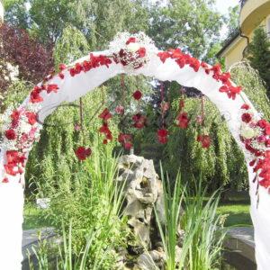 сватба, сватбена декорация, червена сватба, изнесена церемония, сватба в Парк Инн