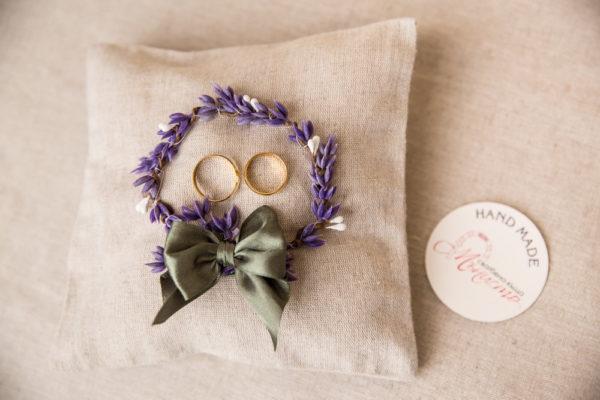комплект за сватба, ритуален комплек, възгланичка за халки с лавандула