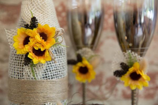 сваба, сватбен, комплект, шампанско, слънчогледи