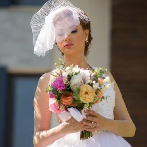 булченски, букет, сватбен , божури