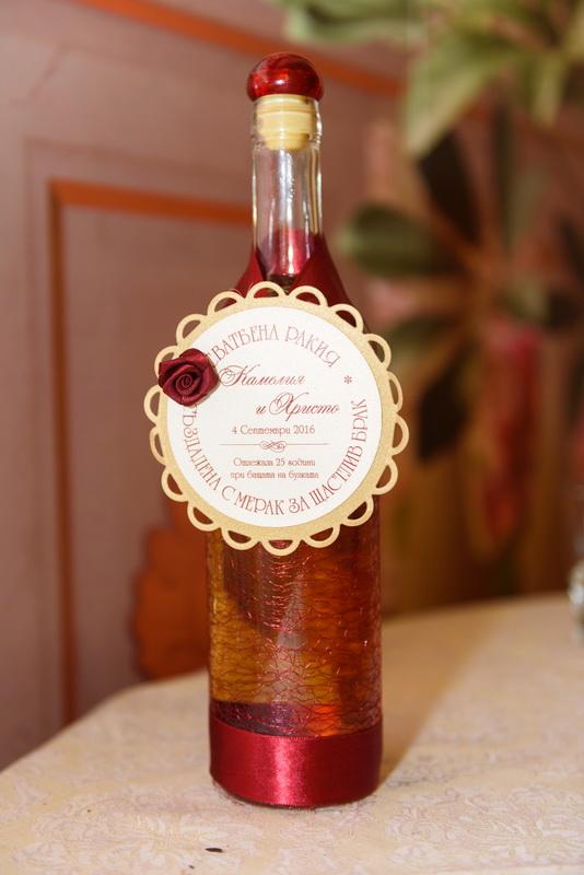 сватба, сватбена, декорация, бордо, червено, монтесито, етикети , ракия