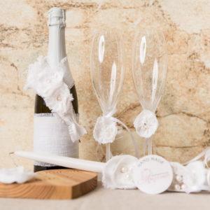 сватба, ритуален, комплект, лен , перли, свещи, рустик