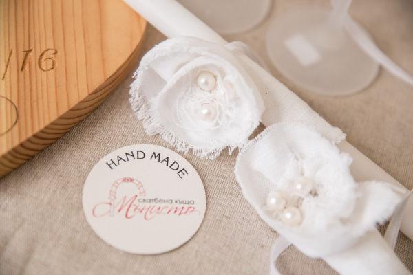 сватба, ритуален, комплект, лен , перли, свещи