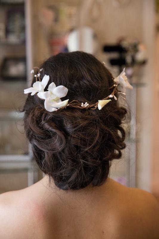 сватба, аксесоар, коса, сватбенq венец, шаферка, орхидея