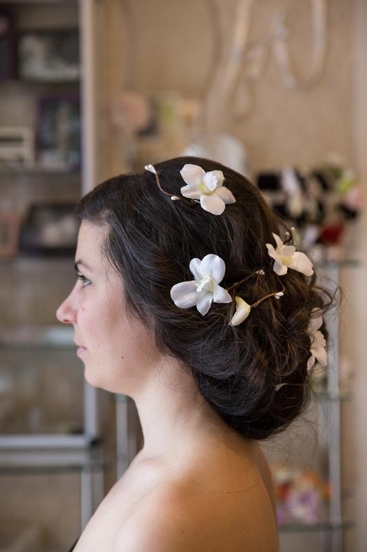 сватба, аксесоар, коса, сватбена, орхидея, цветя