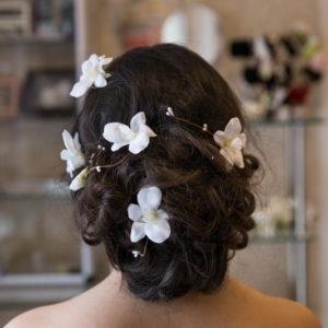 сватба, аксесоар, коса, сватбена, прическа, орхидея, цветя