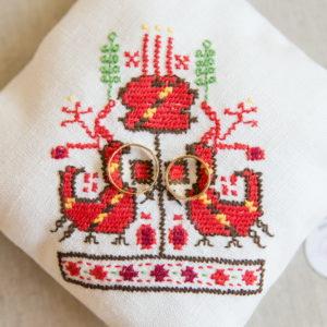 възгланичка за халки с шевици, българска сватба, сватбени халки , народнимотиви