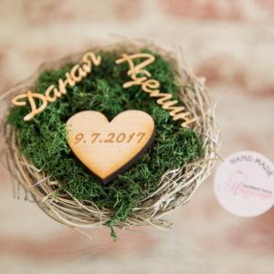 сватбени, халки, поставка, гнездо, дата, имена
