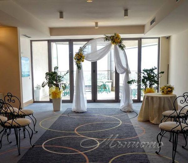 сватба, декорация, жълто , зелено, изнесена, церемония