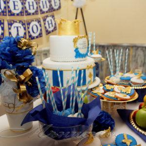 кръщене, декорация, сладък, бар, маса, рожден , ден, златно , синьо