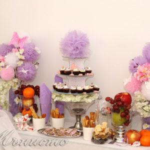 кръщене, декорация, сладък, бар, маса, рожден , ден, розов, лилаво