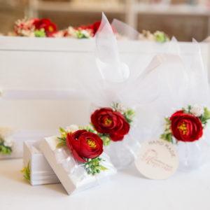 комплект за кръщене, кръщене народен стил, червени цветя