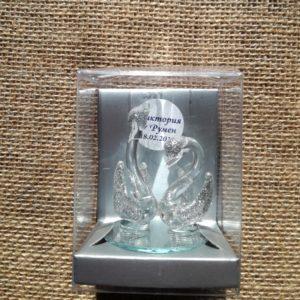 сватба, лебеди, кристал, стъкло , кутия