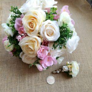 сватбн букет от рози, изкуствени цветя, букет за хвърляне