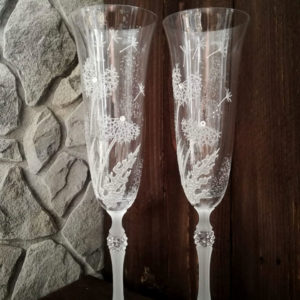 сватбени, чаши, шампарско, глухарчета