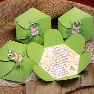 покана, кръщене, погача, рожден ден, жабче, кутия