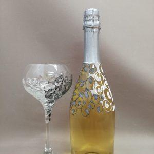 сватбено шампанско, декорирано шампанско, шампанско с надписи
