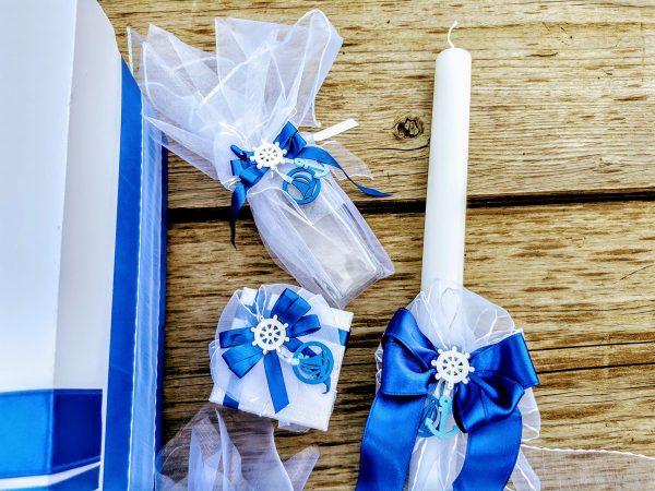 кръщелен, комплект, море, морска, бяло и синьо, свещ, косичка