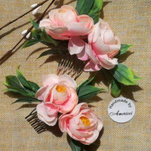 аксесоар за коса сватбен, гребен за коса, шаферки , сватбена прическа, гребен с цветя