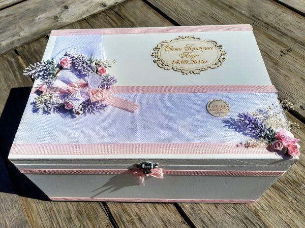 кутия за кръщене, лавандула, кутия за кръщелни дрехи, дървена кутия