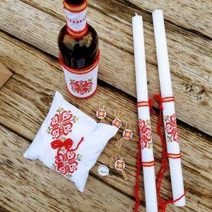 сватба в народен стил, сватбен комплект с шевици