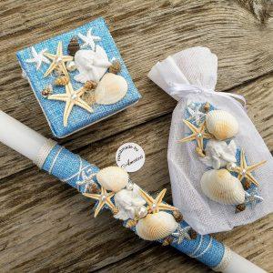 комплект за кръщене, кръщене на морска тема, ангелче, морски звезди