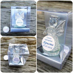 Подаръци за гости на кръщене, стъклено ангелче, кристално ангелче, с етикет