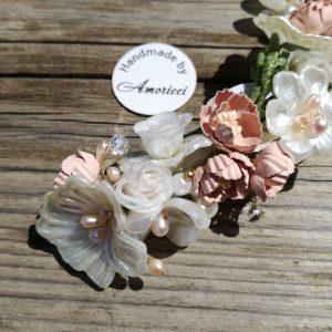 сватбена прическа, аксесоар за коса, булченски гребен, цветя за коса