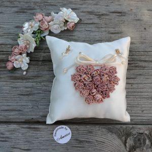 възглавничка за халки, сватбени халки, пепел от рози, сватба в лилаво