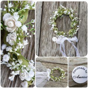 сватбен венец, венец за шаферки, сватбена прическа, булченски венец от цветя