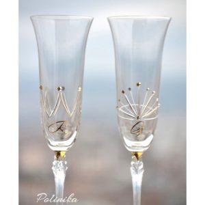 сватбени чаши, сватбено шампанско, чаши за шампанско