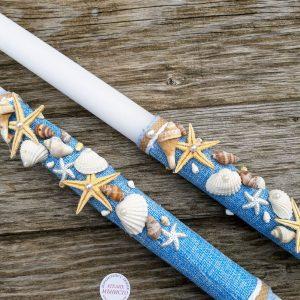 сватбени свещи , декорирани свещи, морска сватба, декорация с морски звезди