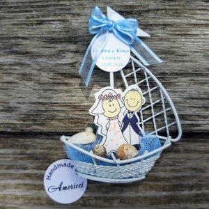 сувенири морска сватба, подаръци гости, младоженци, лодка