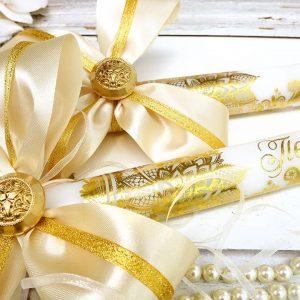 сватбени свещи, свещи за църкават, златни свещи