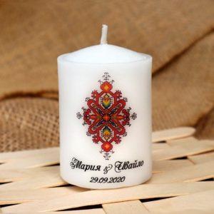 сувенири за сватба, сватбени свещи, подарици гости, народен стил