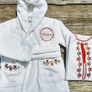 кръщелни хавлии, халат за кръщене на дете, бродирани хавлии