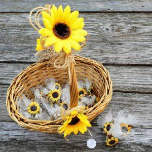 късметчета със слънчогледи, сватбени късмети, кошница за късмети