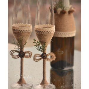 чаши за сватба, чаши за шампанско, рустик сватба
