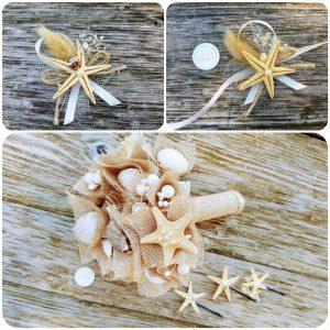 морски букет, булченски букет с морски звезди