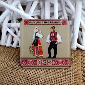сувенири за сватба, подаръци за гости, магнити за сватба, с шевици