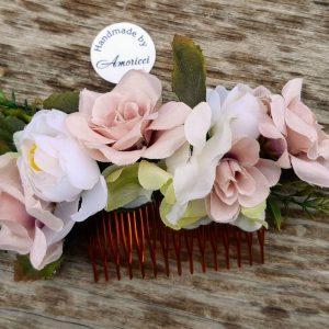сватбена прическа, гребен с цветя, аксесоар за сватбена прическа