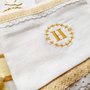 миро с инициали, светена вода, памучна кърпа за, кръщене рустик
