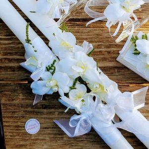 сватбен комплект за ритуал, декорирани свещи, сватбени чаши, декорирано шампанско