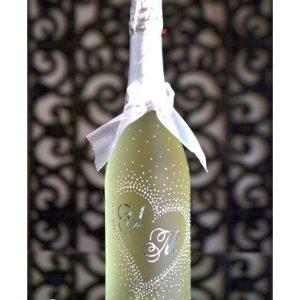 сватбено шампанско, за сватба, декорирана бутилка